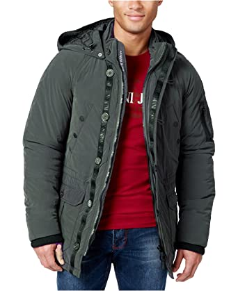 32935abe4 Armani Jeans Double Placket Hooded Parka Green at Amazon Men's ...