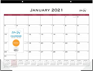 """Blue Sky 2021 Monthly Desk Pad Calendar, Two-Hole Punched, Ruled Blocks, 22"""" x 17"""", Classic Red (111294-21)"""
