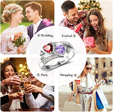 Personalized Simulated Birthstones Promise Rings