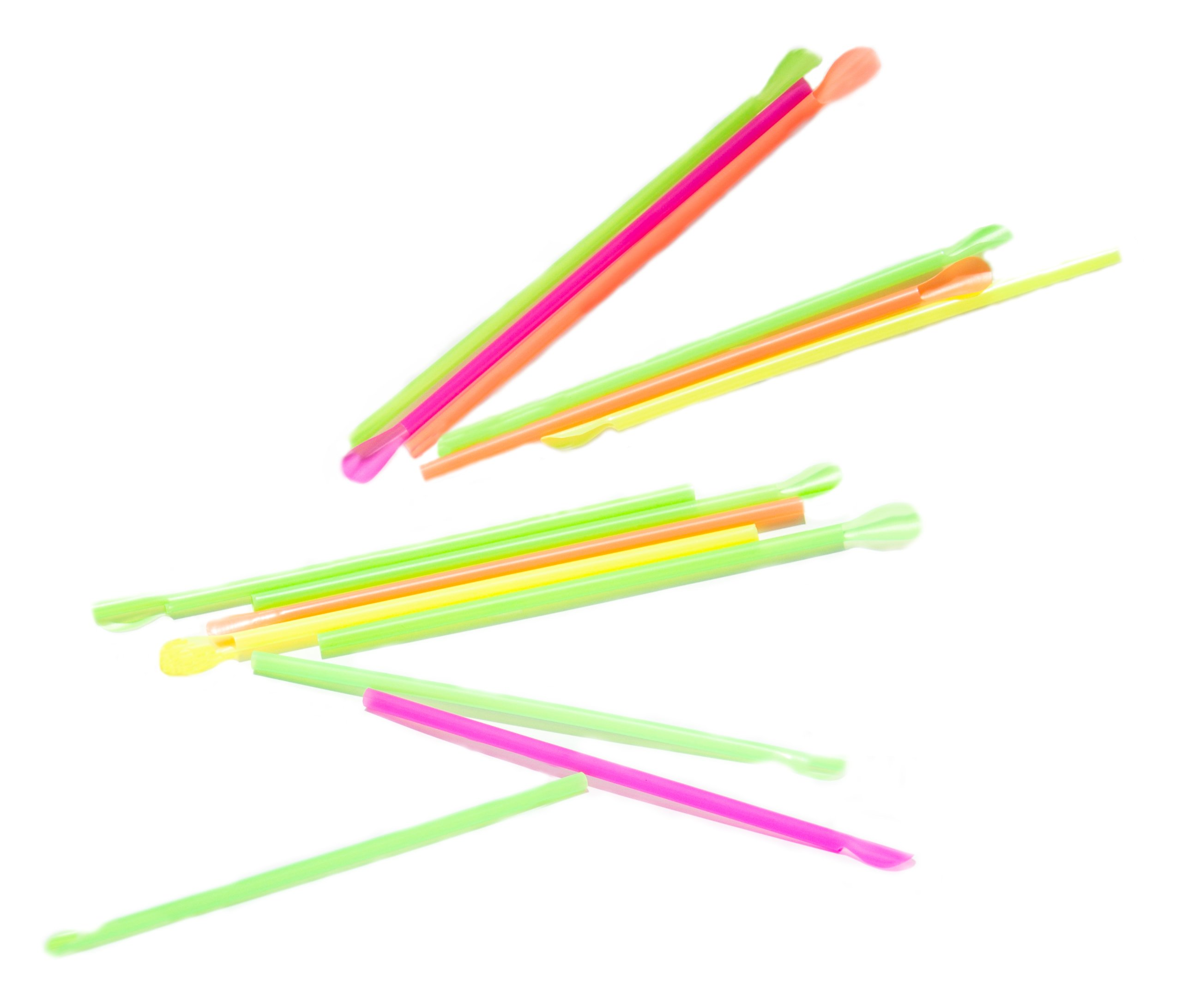 Perfect Stix Concession Spoon Straw, Plastic Wrapped, Assorted Colors, 8'' Length (Pack of 5,000)