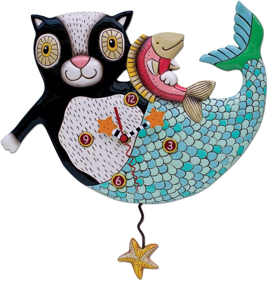 Allen Designs Black Kitty Pendulum Clock