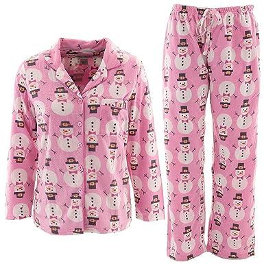 144e17fa4716 Pink Snowman Women s Fleece Pajamas L at Amazon Women s Clothing store