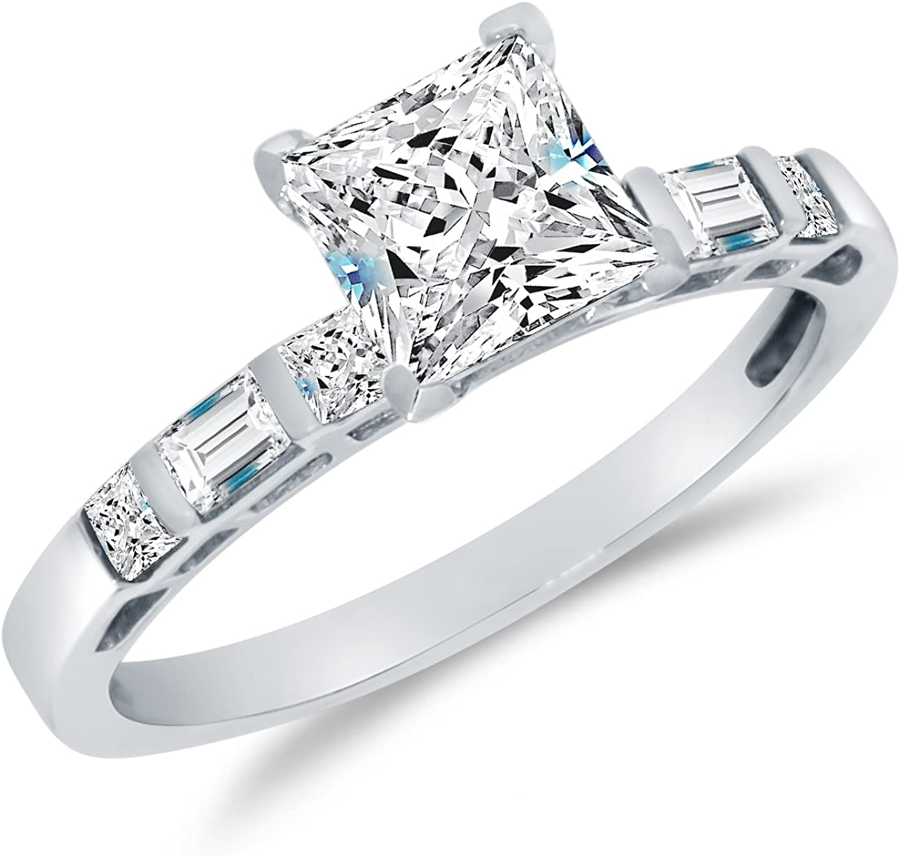It is a photo of Solid 44k White Gold CZ Cubic Zirconia Bridal Engagement Ring w/Matching Wedding Band Two Ring Set - Princess Cut Solitaire with Baguette Side Stones