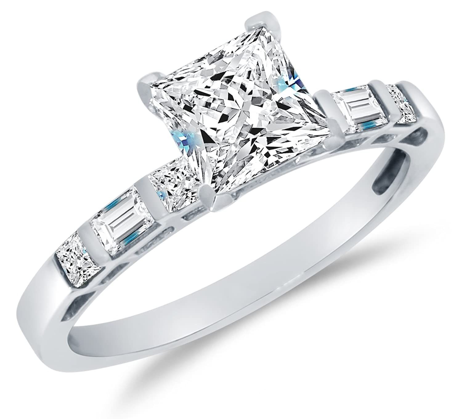 Solid 14k White Gold Highest Quality CZ Cubic Zirconia Engagement Ring – Princess Cut Solitaire with Baguette Side Stones (1.25cttw., 1.0ct. Center)