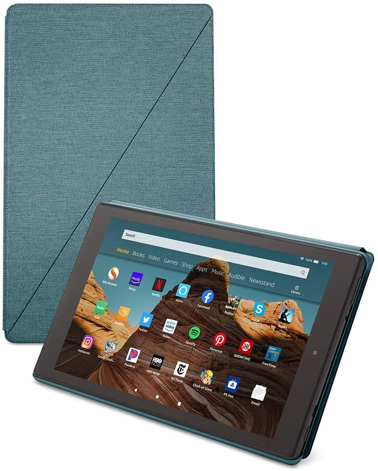 Fire HD 10 Tablet (64 GB, Twilight Blue, With Special Offers) + Amazon Standing Case (Twilight Blue) + 15W USB-C Charger