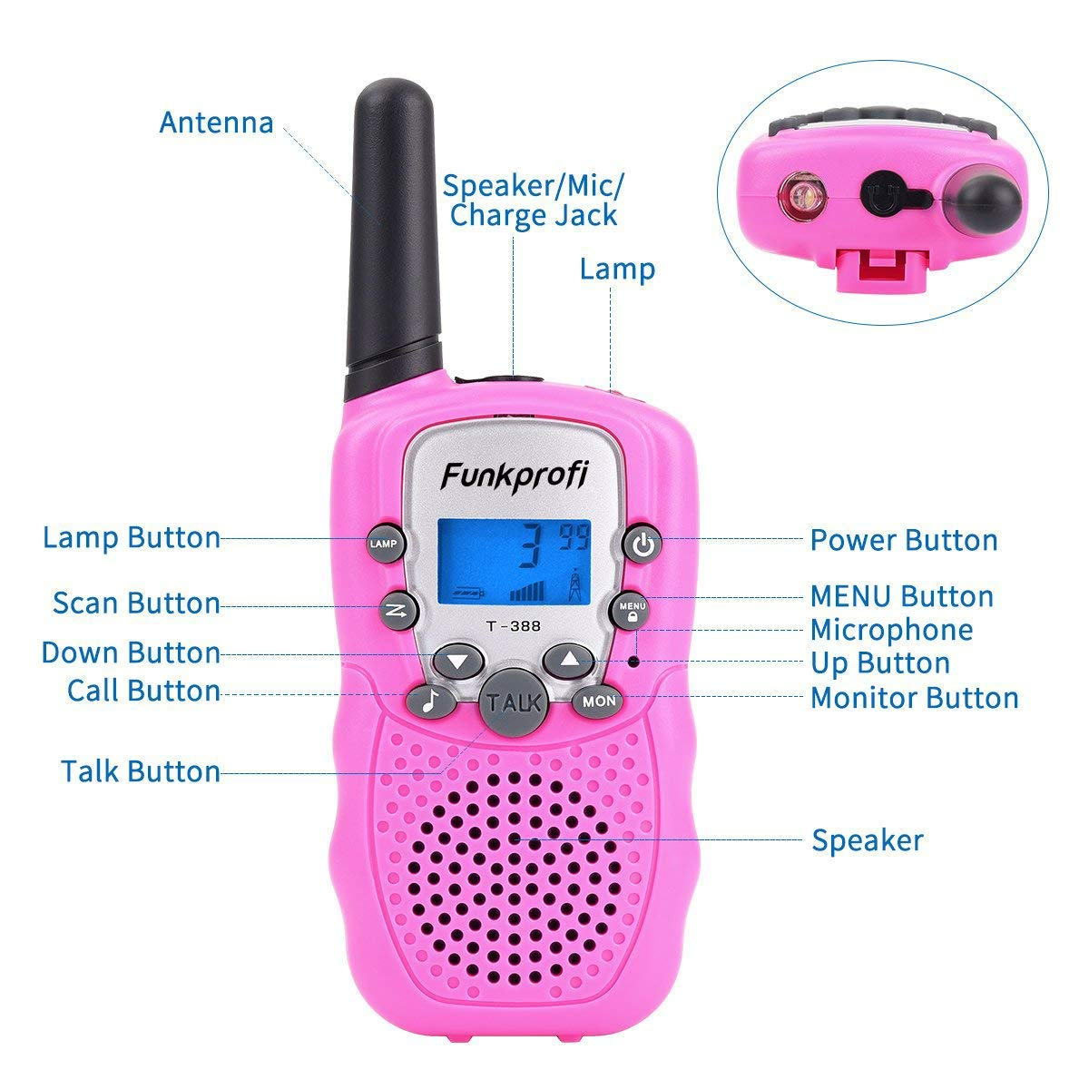 Funkprofi Walkie Talkies for Kids 22 Channels Long Range Rechargeable Walkie Talkies with Battery and Charger, Gift for Boys and Girls, 1 Pair (Pink) by Funkprofi (Image #4)