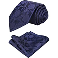 Alizeal Mens Solid Color Floral Jacquard Tie and Hanky Set