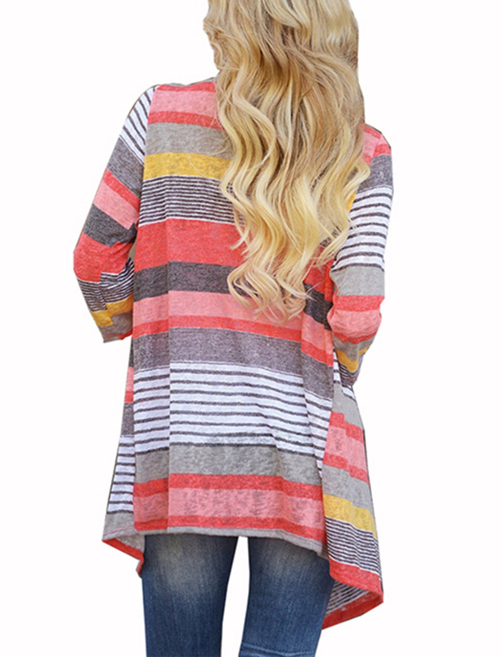 3/4 Long Sleeve Plus Size Sweater Cardigans for Womans Coverup Bikini Beach Wear Red Large by VAYAGER (Image #3)
