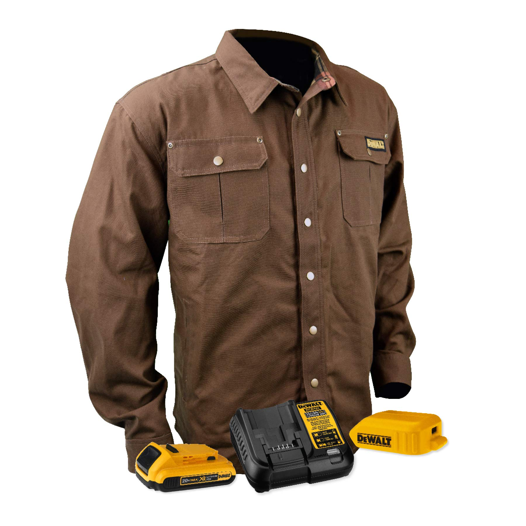 DEWALT DCHJ081TD1-M Heated Heavy Duty Shirt Jacket, M, Tobacco