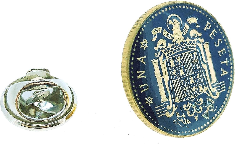 Gemelolandia Pin de Solapa Moneda Original Pintada a Mano 1 Peseta Aguila de San Juan Azul: Amazon.es: Ropa y accesorios
