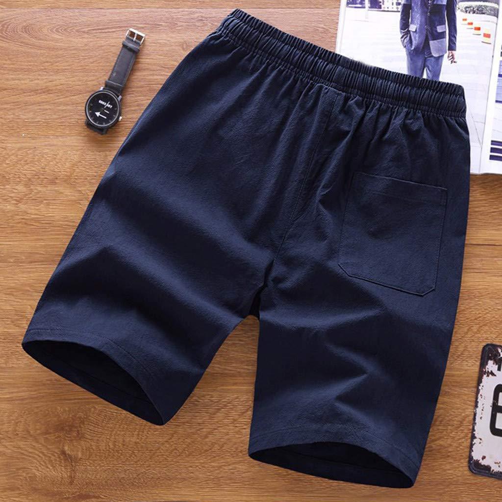 6aa0a453ee Amazon.com: Board Shorts Long,Shybuy Men's Summer Fashion Pure Color Casual  Loose Belt Drawstring Beach Shorts Pants: Kitchen & Dining