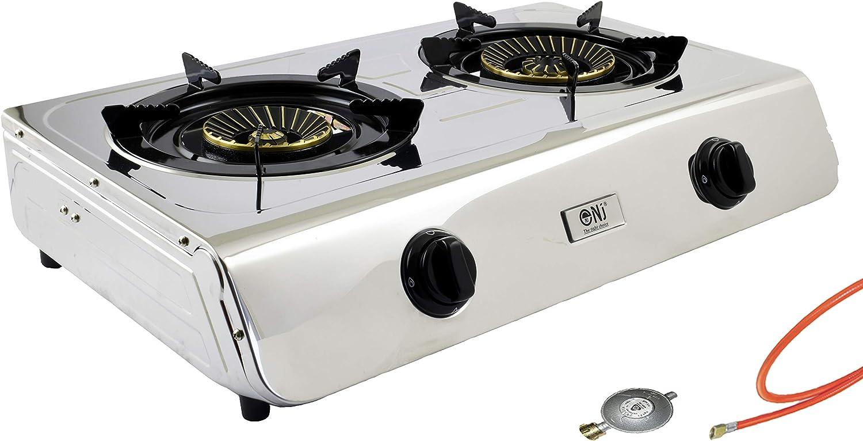Acero inoxidable gas eléctrica 2 focos camping Cocina 7,6 kW con llama turbo propano – Hornillo de gas cocina de gas con cocina de gas Cruz Aufsatz ...