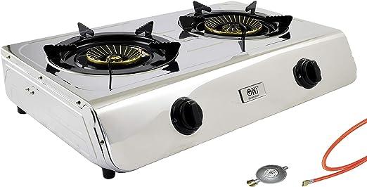 Acero inoxidable gas eléctrica 2 focos camping Cocina 7,6 kW con ...