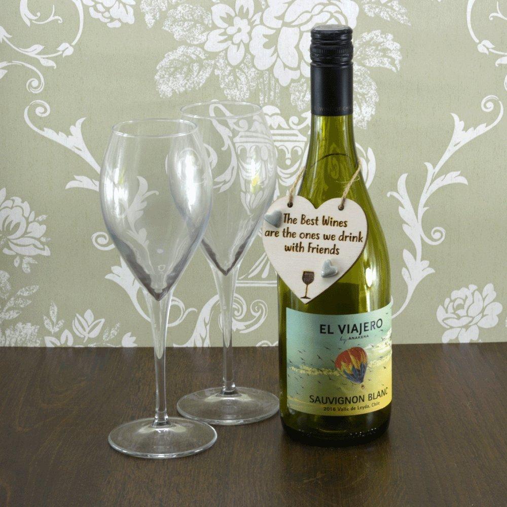 Los mejores vinos son Bebe con amigos de corazones de cerámica hecha a mano botella de vino encanto (Salvia verde de recuerdo de regalo): Amazon.es: Hogar