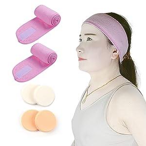 Artyunt Facial Spa Headband - 2 Pcs With 4 Makeup Sponge Blender Makeup Shower Bath Wrap Sport Headband Terry Cloth Adjustable Stretch Towel with Magic Tape (Pink+Pink)