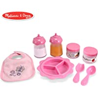 "Melissa & Doug Mine to Love Baby Food & Bottle Set (Doll Accessories, Easy-Close Bib, Orange Juice and Milk Bottles, 8-Piece Set, 14"" H x 11"" W x 2.5"" L)"