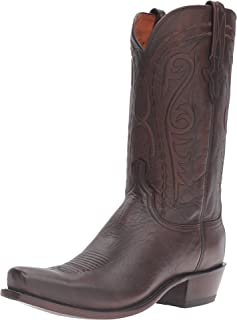 product image for Lucchese Mens Brandon Handmade Calf Round Toe Boots Mid Calf - Brown