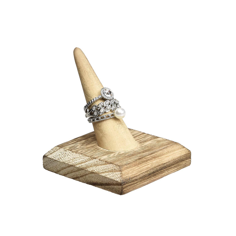 Oak Mooca 4 Pcs Set Finger Ring Stand Jewelry Display Holder Showcase Display Stands 2 1//2 W x 2 1//2 D x 2 3//4 H
