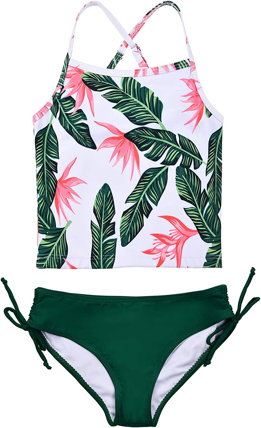 JerrisApparel Girl Tropical Leaf Swimsuit Tankini Swim Set Two Pieces Bathing Suit