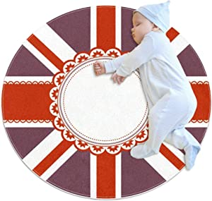 Soft Area Rug for Nursery Children Baby Room Home Decor Retro UK Flag Carpet for Kids Play Crawling 27.6IN