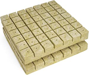"BIOMAND 1.5"" Rockwool Starter Plugs for Hydroponics, Rockwool Grow Cubes, 2 Sheets of 49 Plugs, 98 Plugs Total"