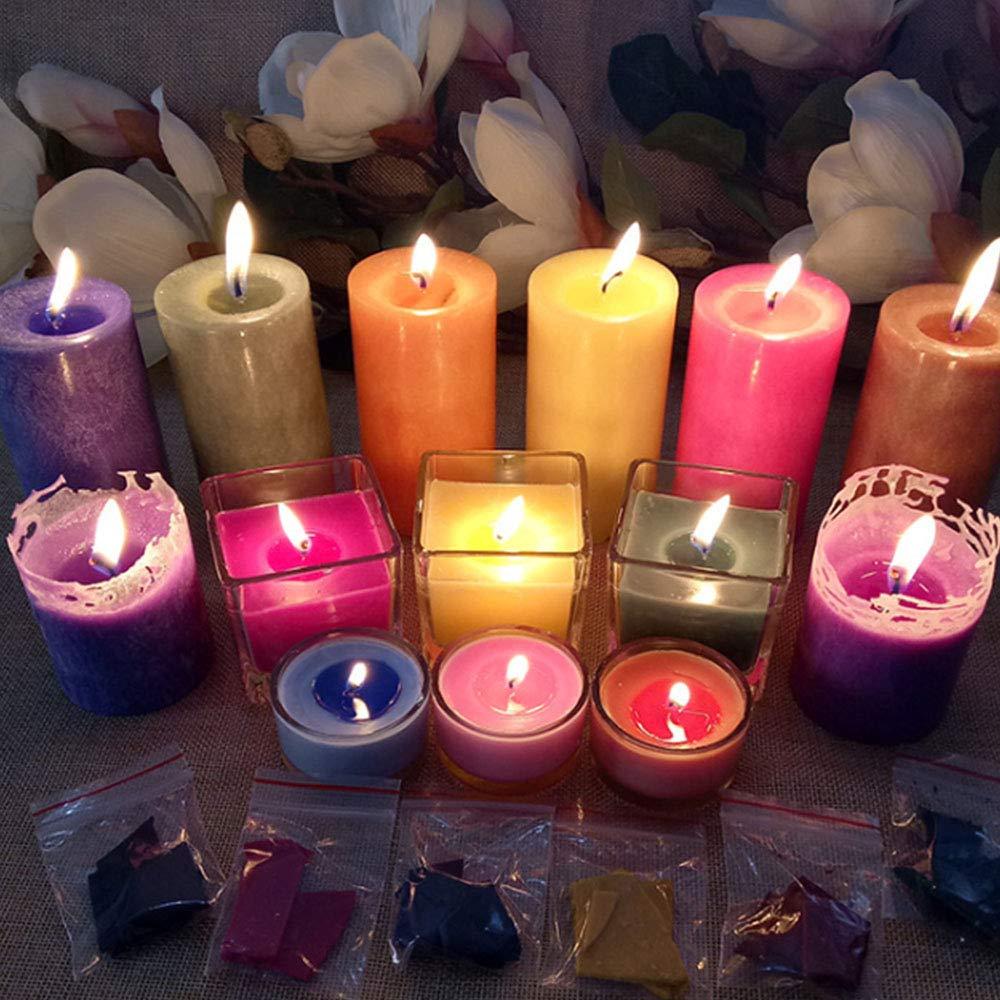 OeyeO Lot de 24 couleurs de teinture de bougie en cire pour fabriquer des bougies chaque couleur est suffisante pour teindre des bougies de 2,3 kg