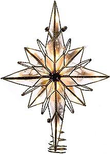 Kurt Adler 10-Light 10-Inch Capiz Classical Multi-Pointed Bethlehem Star Treetop