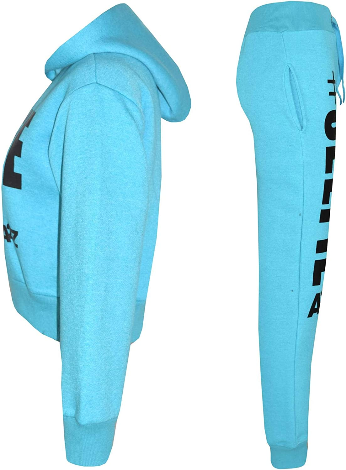 Kids Girls Tracksuit Designer #Selfie Hooded Crop Top /& Bottom Jog Suit 5-13 Yr
