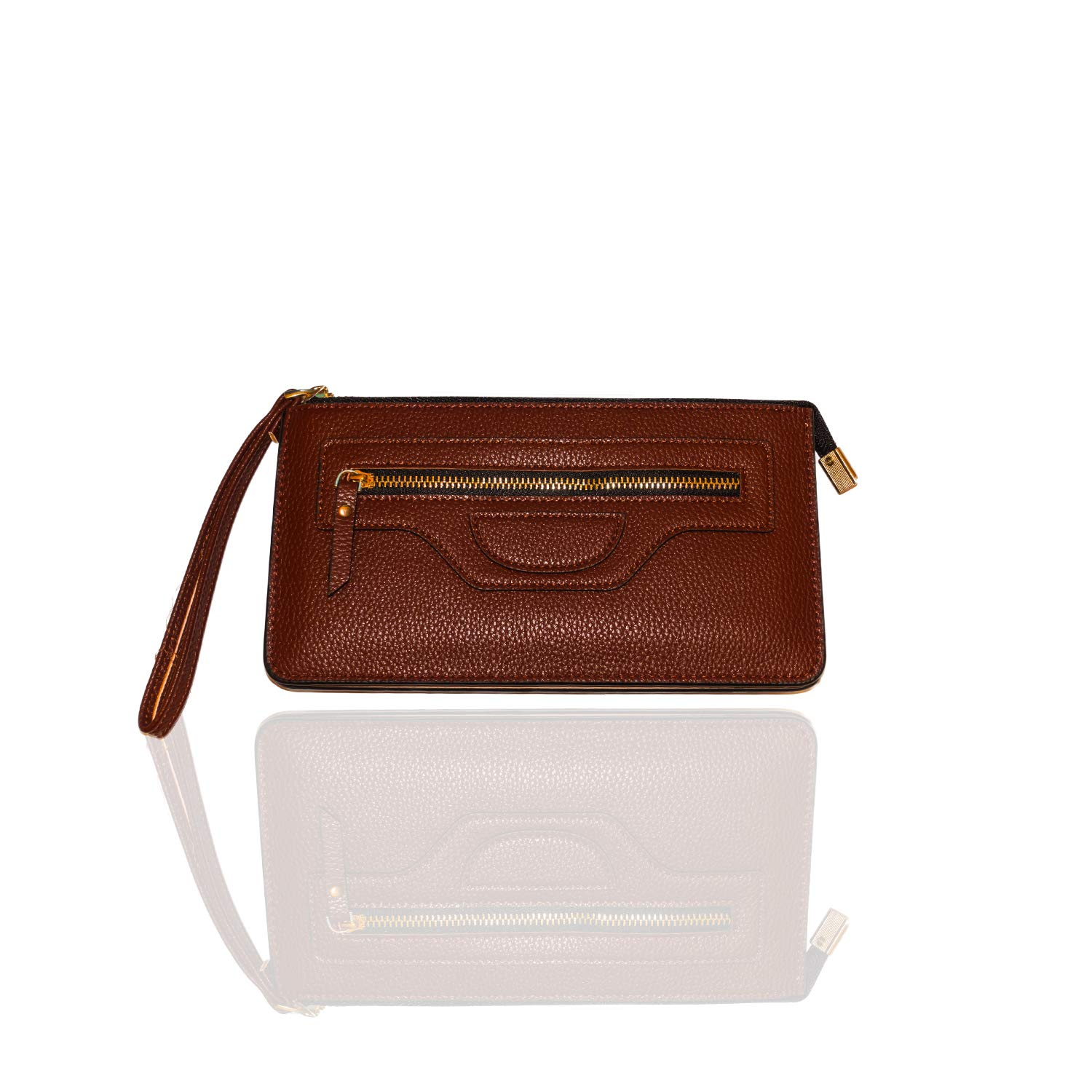 Carter Leatherworks Rodeo Womens PU Vegan Leather Wristlet Wallet Clutch Purse Fits Any Smartphone (Coffee) by Carter Leatherworks (Image #1)