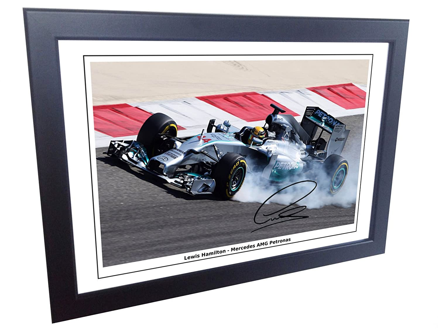 12x8 A4 Signed Lewis Hamilton Mercedes-AMG Petronas Autographed Photo Photograph Picture Frame Motor Sport Formula 1 F1 Gift gift kicks