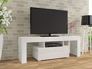 Keinode Moderno Mueble de TV LED Blanco Mate y Blanco Alto Brillo ...
