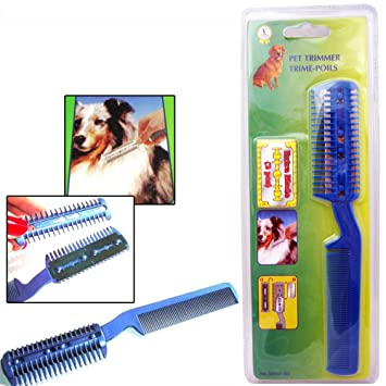 Pet Hair Trimmer Comb 2 Razor Rakes Cutting Grooming Clean Tool for Dog Cat G*GG