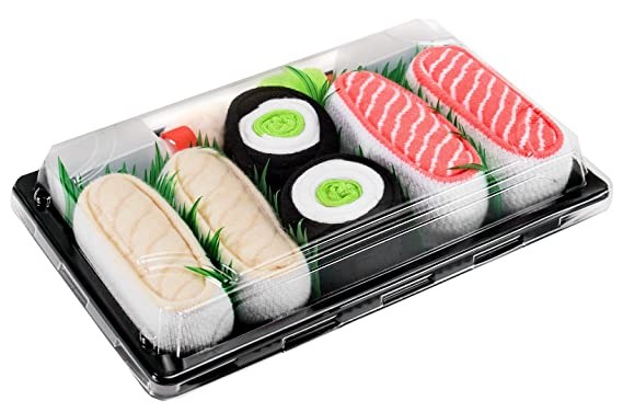 SUSHI SOCKS BOX 3 pairs Butterfish Cucumber Salmon FUNNY GIFT! Made in Europe S