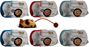 Fancy Feast Purely Complete Cat Food 3 Flavor Variety 6 Can with Toy Bundle, 2 Each: Tongol Tuna, Skipjack Tuna, Seabass & Shrimp (2 Ounces)