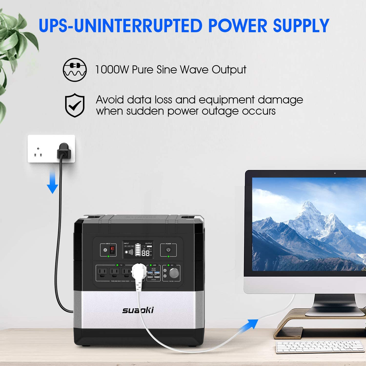 UPS Power Station, SUAOKI G1000 Portable Power Supply 1183Wh Silent Gas Free Generator LiFePO4 Battery Pack with 1000W 2000W Surge AC Inverter, 60W Power Delivery USB C for Camping CPAP Power Outage