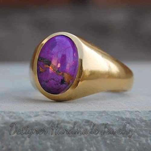 Gold Plated Ring Purple Copper Turquoise Round Silver Ring 10mm Round Purple Turquoise Gemstone Ring Valentine Ring Gift For Her,