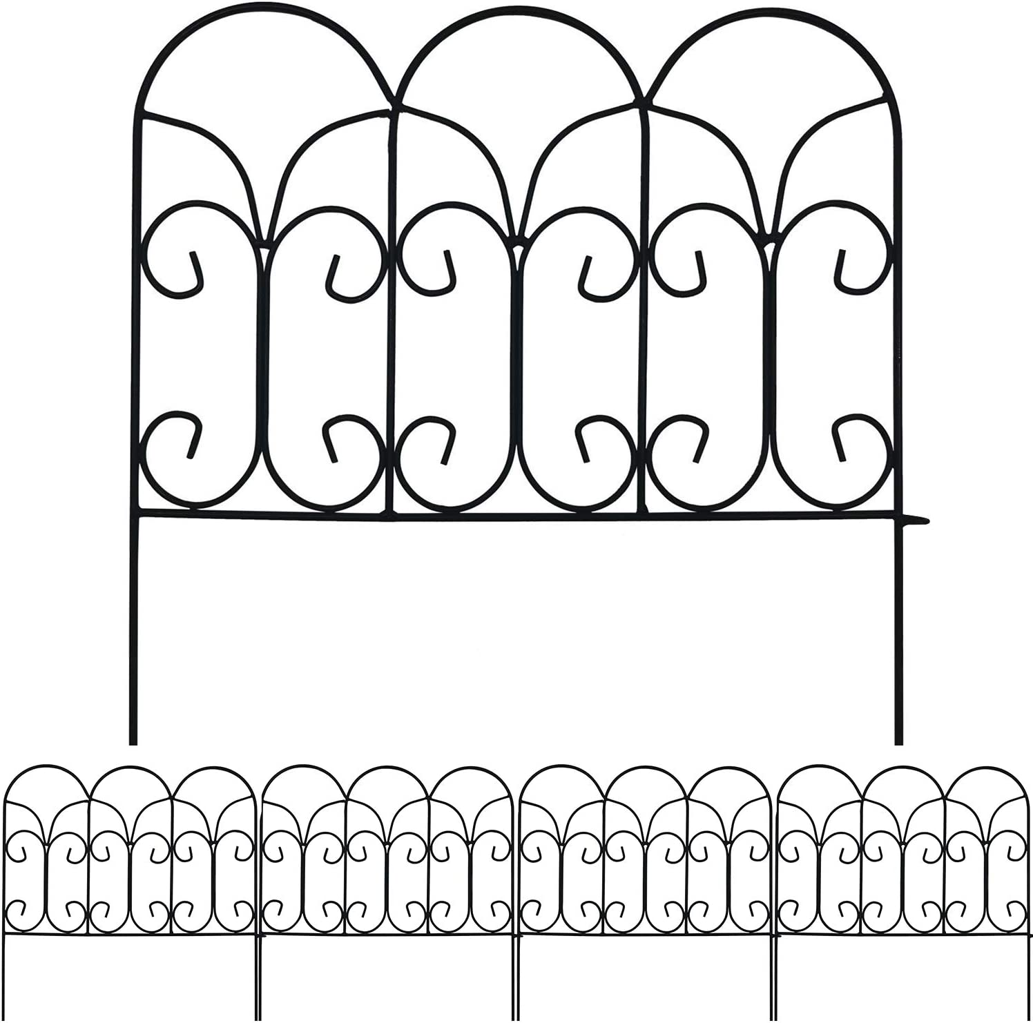 AMAGABELI GARDEN & HOME Decorative Garden Fence GFP004 18in x 7.5ft Coated Metal Outdoor Rustproof Landscape Wrought Iron Wire Border Fencing Folding Patio Fencing Flower Barrier Section Panel Decor