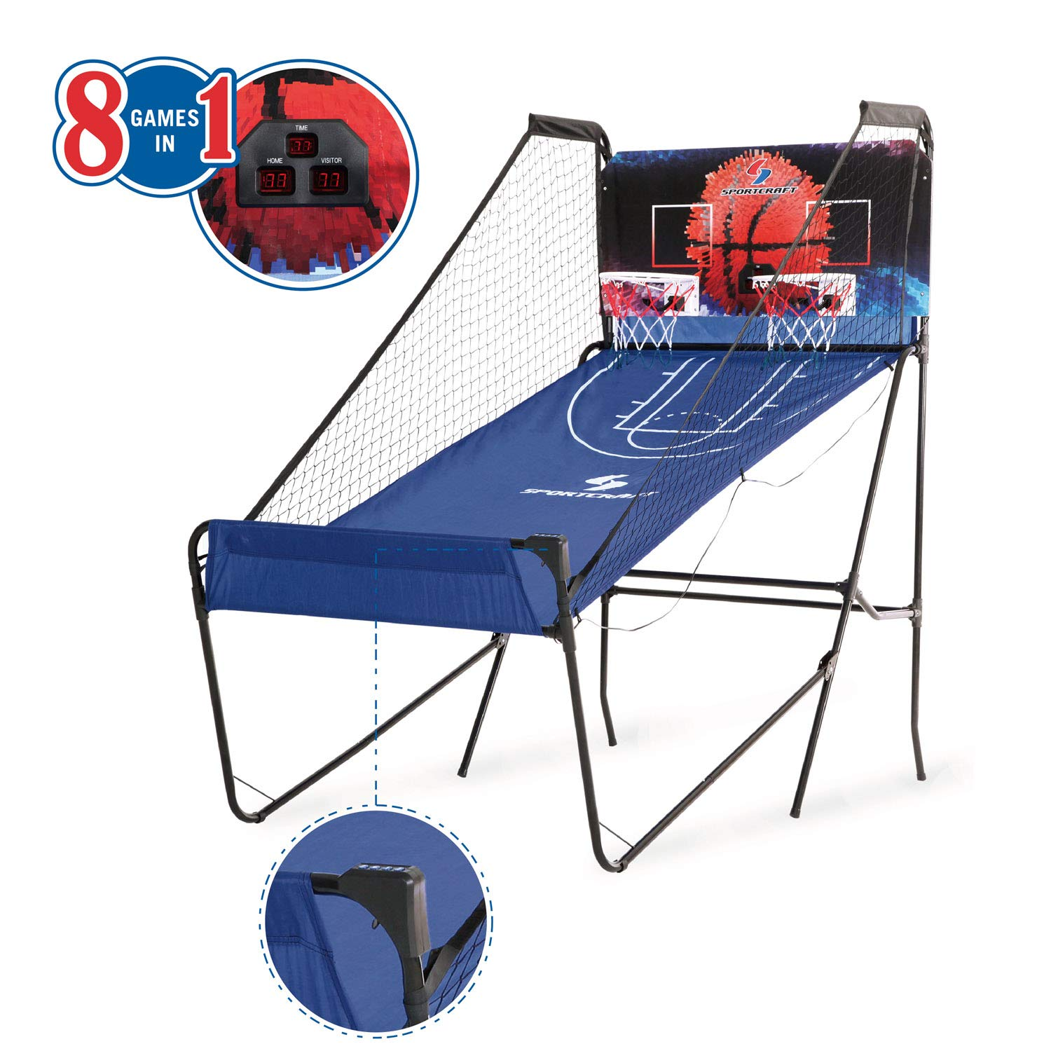Sportcraft 10 Mins Setup/No Tools Required 2-Player Basketball Arcade Game w/ 8 Game Options TRI GREAT USA SODBN-1054
