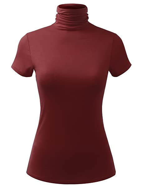 83c1fb76f3fa93 ALL FOR YOU Women Short Sleeve Lightweight Jersey Turtleneck Top Burgundy  X-Small
