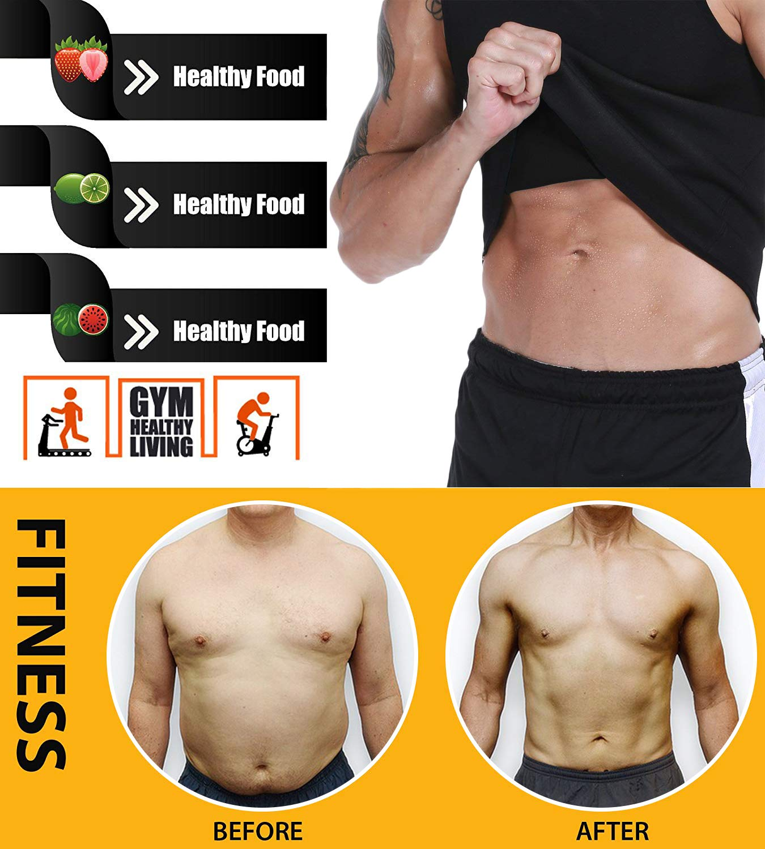 Neoprene Slimming Corset Body Shaper Sauna Sweat Suits for Weight Loss Zipper Sauna Tank Top Workout Fitness Shirt BURUNST Mens Waist Trainer Vest