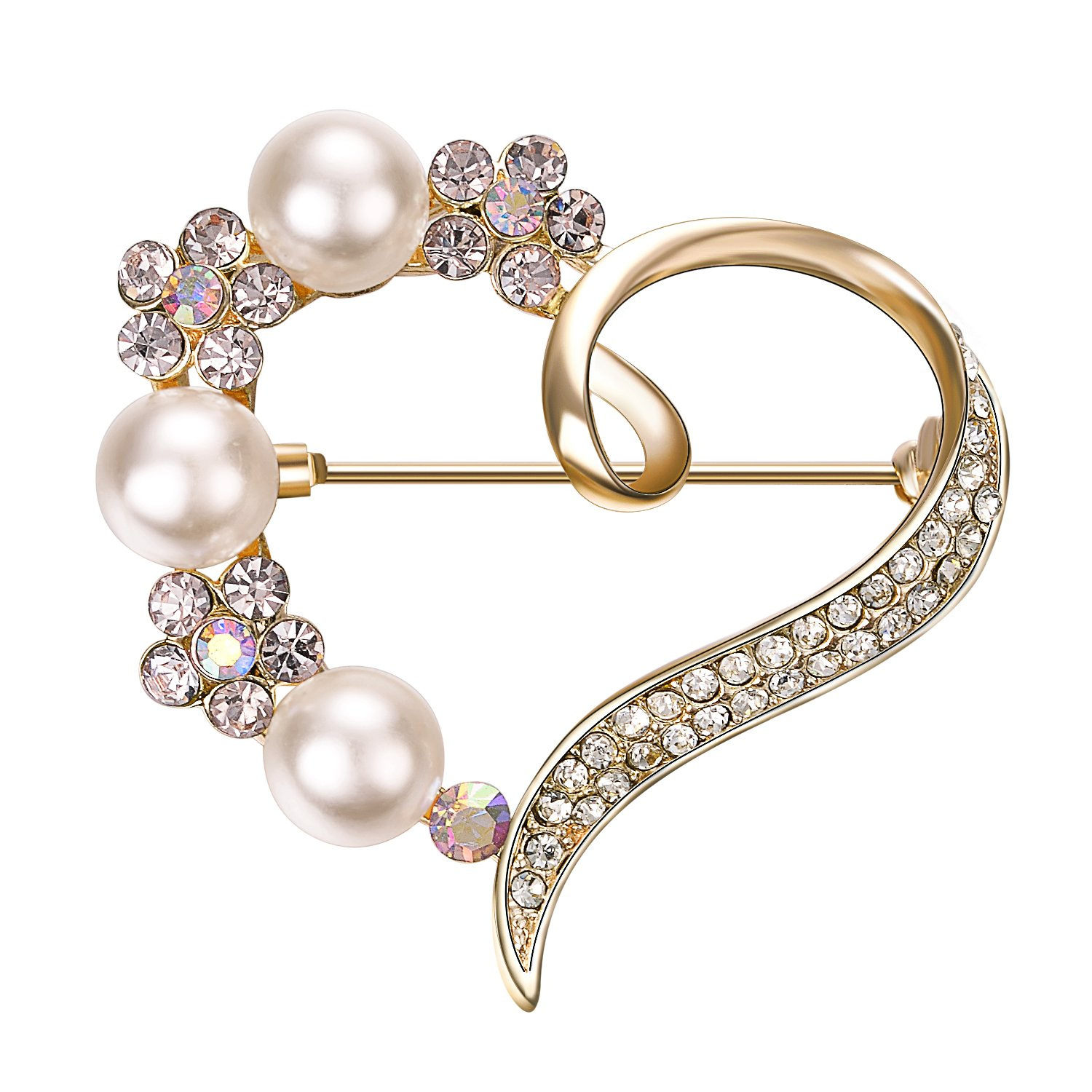 Yoursfs Love Heart Brooch Pin Style Delicate Simulate Pearl Rhinestone Rose Gold Plated Cocktail Dess Gift