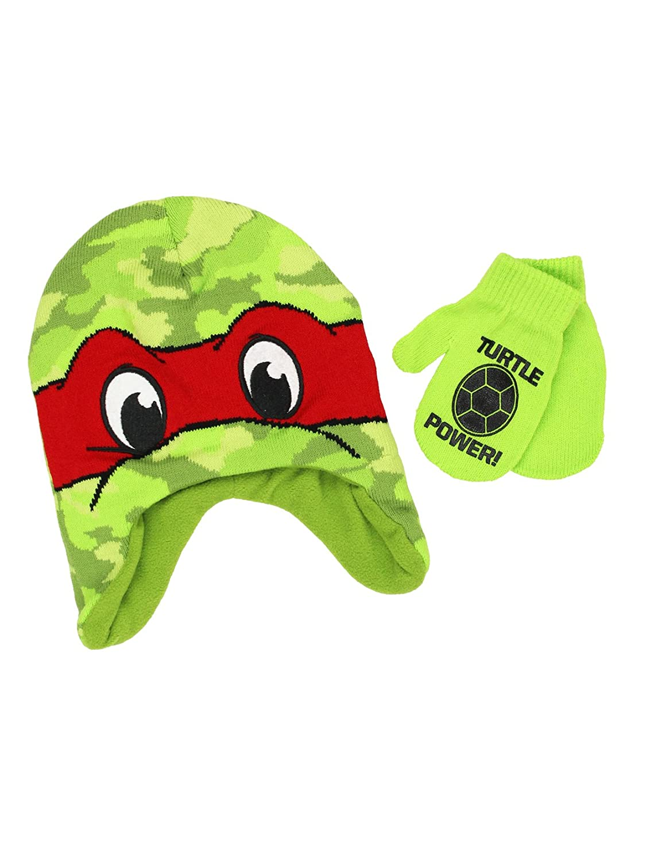 Teenage Mutant Ninja Turtles Boys Beanie Hat and Mittens Set (One Size) Blue) Nick Jr.