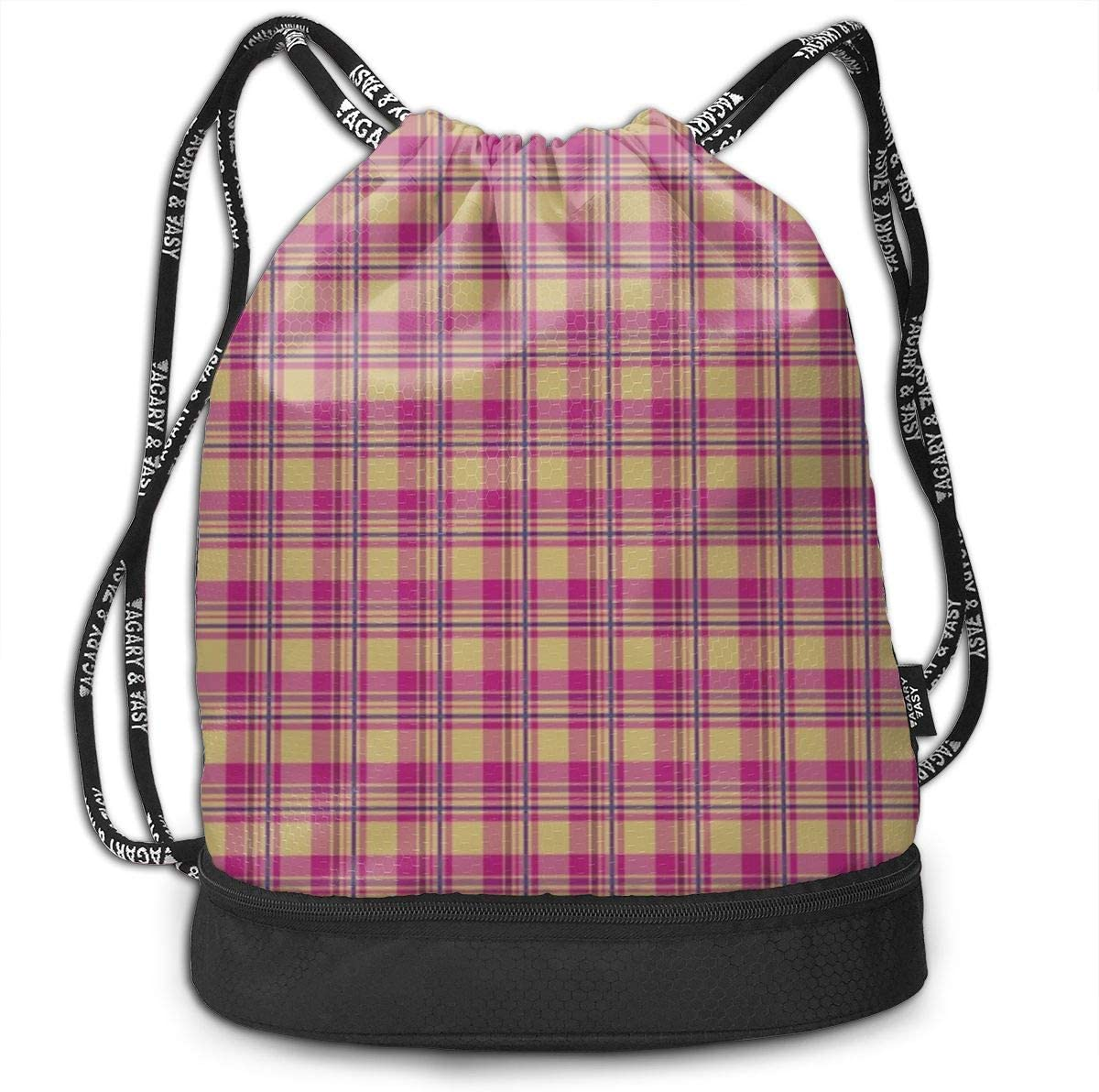 HUOPR5Q Pink-Plaid-Pattern Drawstring Backpack Sport Gym Sack Shoulder Bulk Bag Dance Bag for School Travel