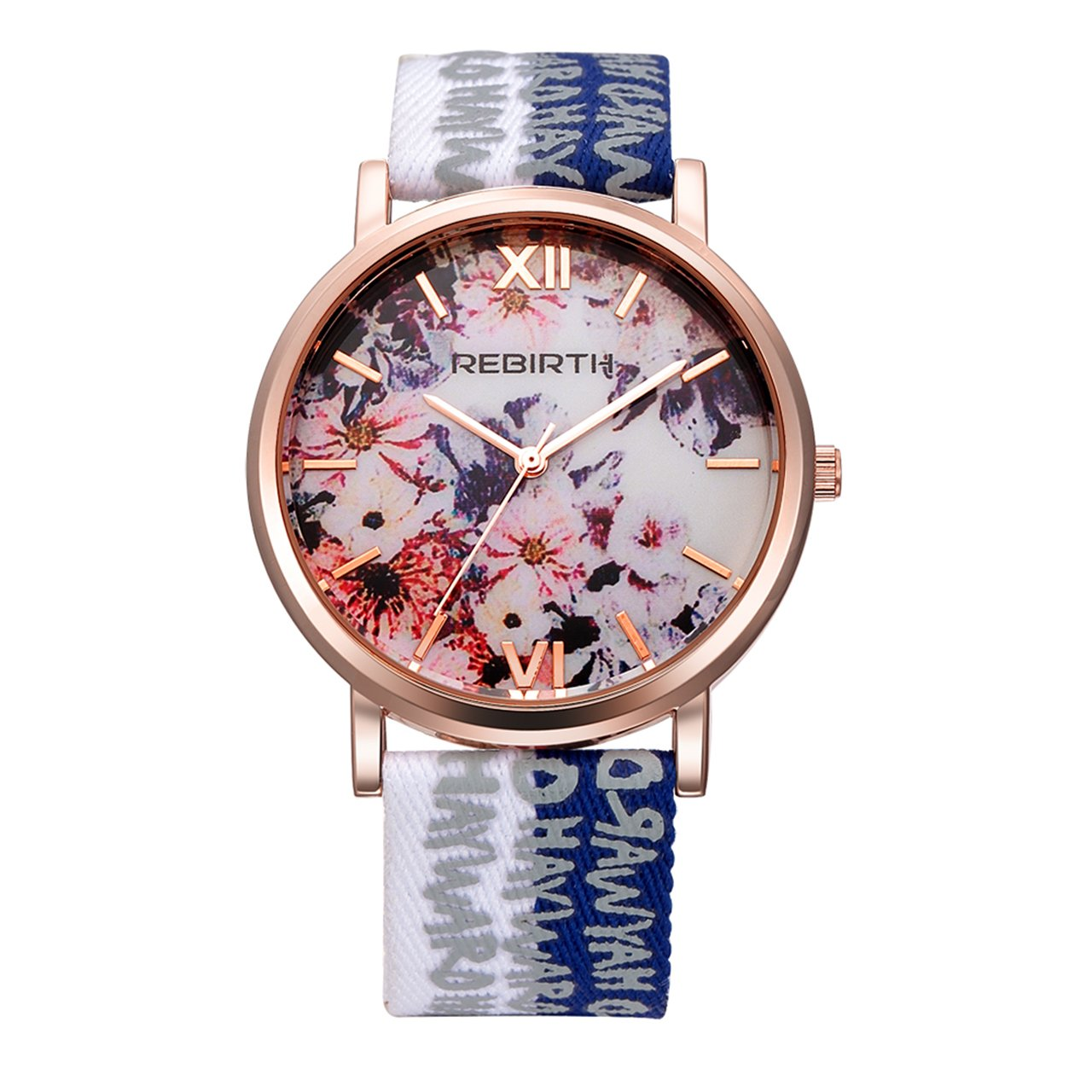 Top Plaza Womens Flower Dial Rose Gold Case Letter Print Canvas + PU Leather Strap Roman Numeral Waterproof Analog Quartz Watch(Blue and White)
