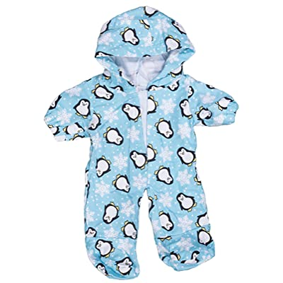 "Penguin Hoodie Onesie Teddy Bear Clothes Outfit Fits Most 14""-18"" Build-A-Bear and Make Your Own Stuffed Animals: Toys & Games"