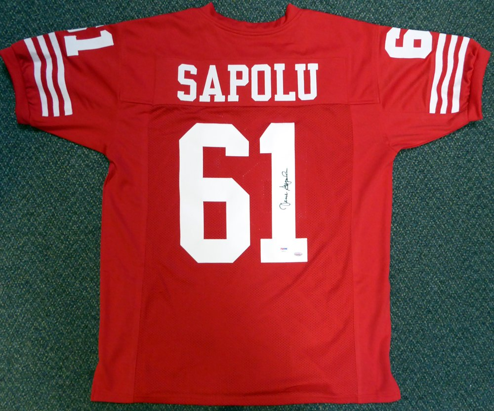 2d3ed015aec SAN FRANCISCO 49ERS JESSE SAPOLU AUTOGRAPHED RED JERSEY PSA DNA STOCK   104143 at Amazon s Sports Collectibles Store