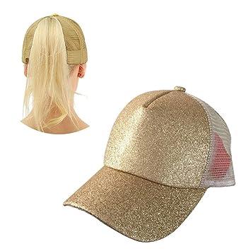 Aolvo oro coda cappello da baseball personalizzato alta messy Bun cappello  da baseball regolabile Flatbill snapback af90df89fd49