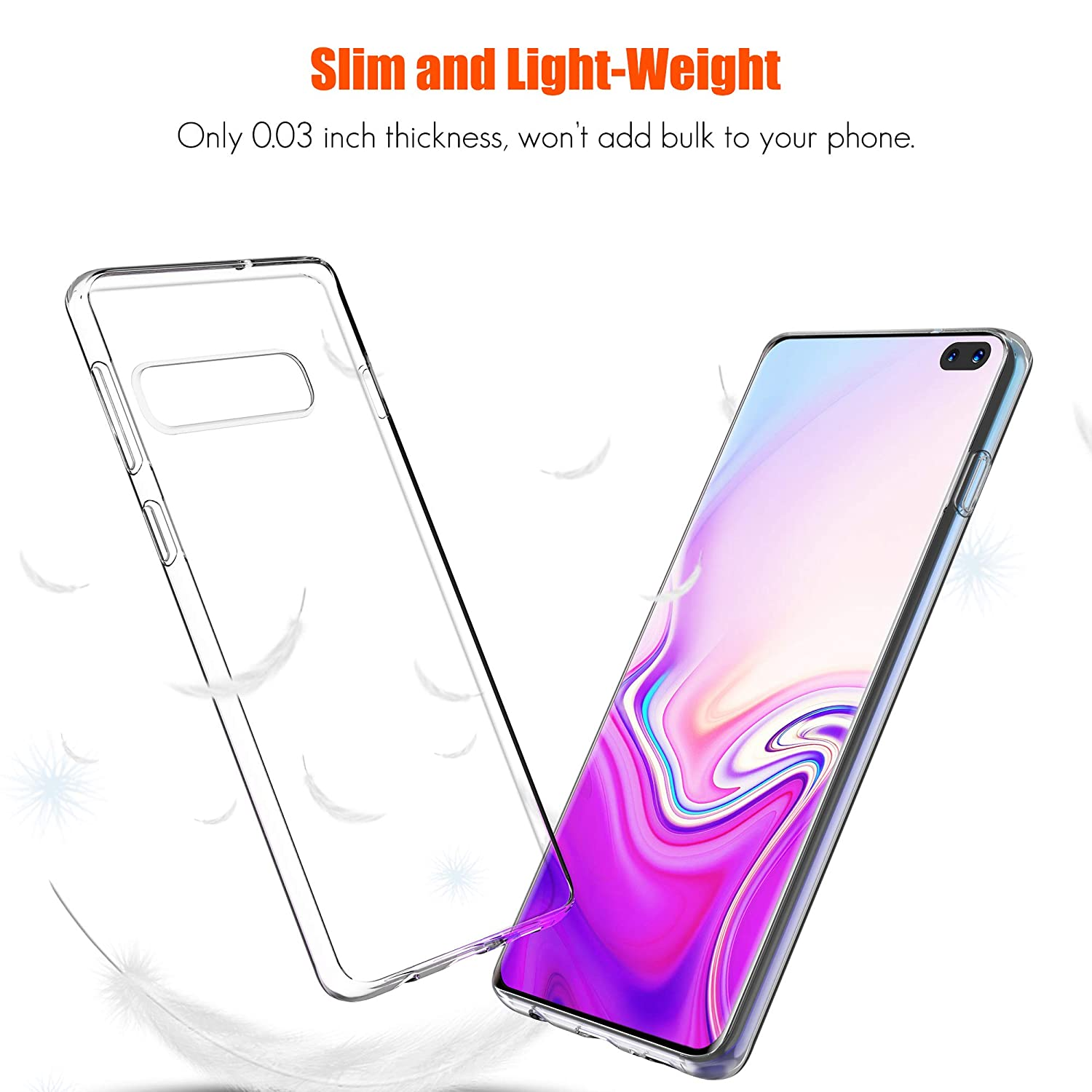Samsung Galaxy S10 Case Crystal Clear Shock Absorption TPU Rubber Gel Case