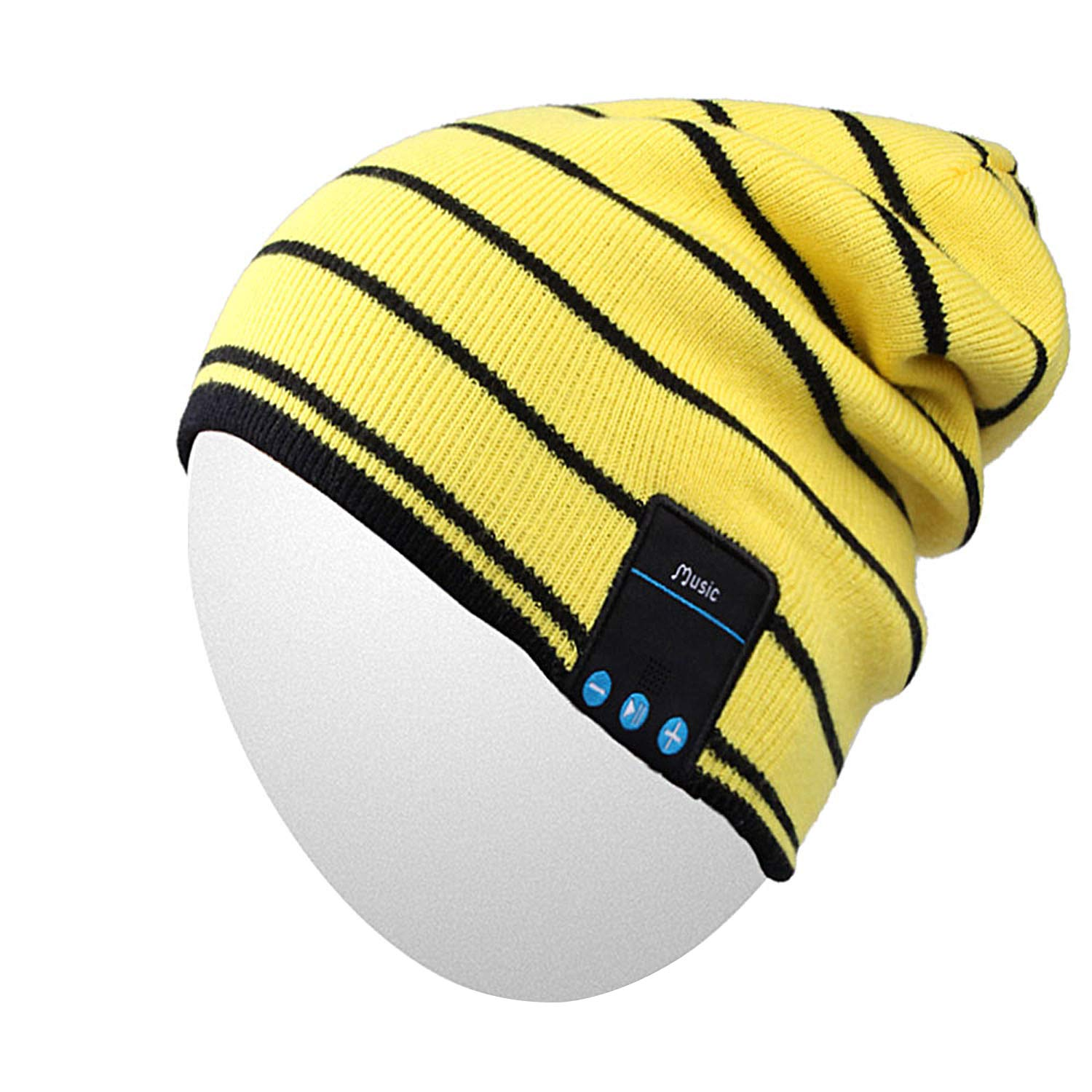 Bluetooth Hat,Qshell Trendy Warm Soft Knit Slouchy Music Beanie Skully Cap with Wireless Bluetooth Headphone Headset Earphone Hands-free Phone Call for Winter Sports Fitness Casual Activities - Yellow