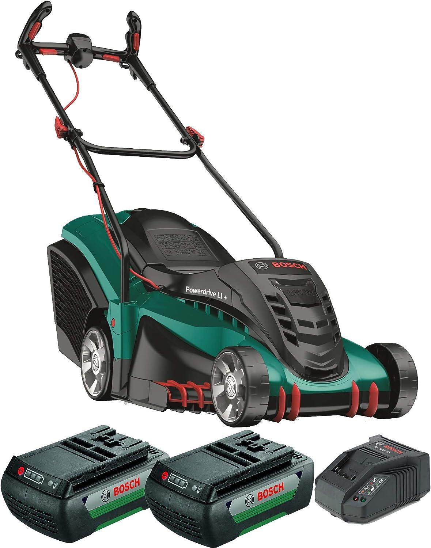 Bosch Rotak 430 LI - Cortacésped con Batería, 2 Baterías, Cesta Colectora de 50L, Cargador, Caja de Cartón, 36V, Anchura/Altura de Corte 43cm/2-7cm